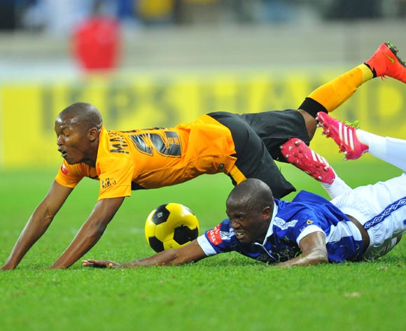 Vincent Kobola of Black Aces challenged by Mandla Masango of Kaizer Chiefs during the Absa Premiership match between Black Aces and Kaizer Chiefs at the Mbombela Stadium on the 13 August 2014