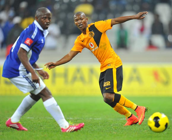 Mandla Masango of Kaizer Chiefs challenged by Vincent Kobola of Black Aces during the Absa Premiership match between Black Aces and Kaizer Chiefs at the Mbombela Stadium on the 13 August 2014