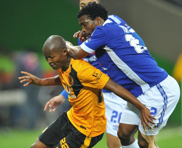 Mandla Masango of Kaizer Chiefs challenged by Mzuvukile Tom of Black Aces during the Absa Premiership match between Black Aces and Kaizer Chiefs at the Mbombela Stadium on the 13 August 2014