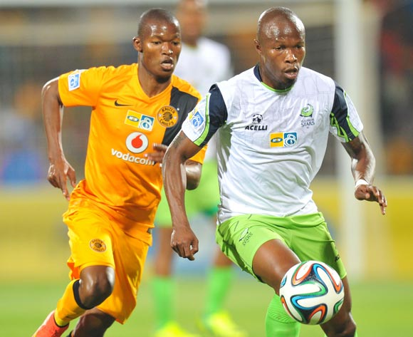 Letladi Madubanya of Platinum Stars challenged by Mandla Masango of Kaizer Chiefs during the 2014 MTN 8 Semi Final first leg match between Platinum Stars and Kaizer Chiefs at Royal Bafokeng Stadium on the 16 August 2014