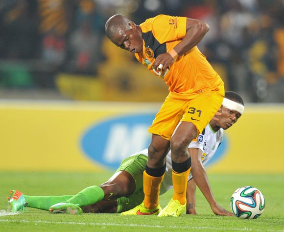 Willard Katsande of Kaizer Chiefs challenged by Ndumiso Mabena of Platinum Stars during the 2014 MTN 8 Semi Final first leg match between Platinum Stars and Kaizer Chiefs at Royal Bafokeng Stadium on the 16 August 2014
