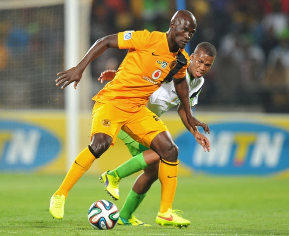 Siphelele Mthembu of Kaizer Chiefs challenged by Tshepo Gumede of Platinum Stars during the 2014 MTN 8 Semi Final first leg match between Platinum Stars and Kaizer Chiefs at Royal Bafokeng Stadium on the 16 August 2014