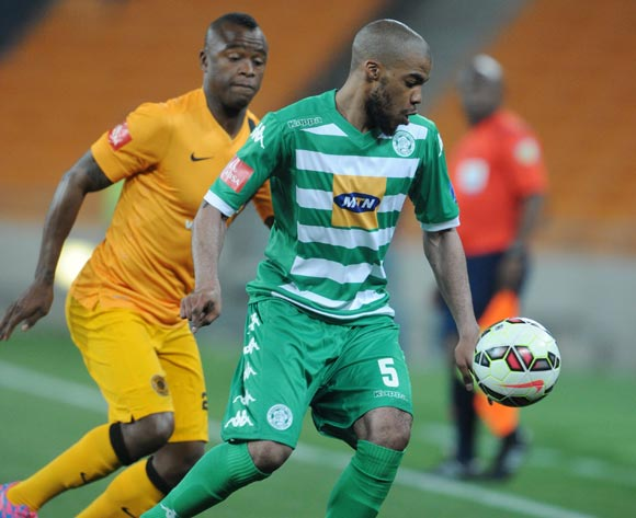 Wandisile Letlabika of Bloemfontein Celtic challenged by Tsepo Masilela of Kaizer Chiefs during the Absa Premiership 2014/15 match between Kaizer Chiefs and Bloemfontein Celtic at FNB Stadium,  Johannesburg on the 19 August  2014