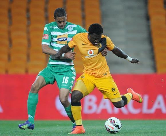 Kingston Nkhatha of Kaizer Chiefs battles with Bevan Fransman of Bloemfontein Celtic during the Absa Premiership 2014/15 match between Kaizer Chiefs and Bloemfontein Celtic at FNB Stadium,  Johannesburg on 19 August  2014