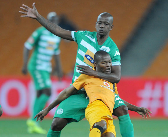 Mandla Masango of Kaizer Chiefs battles with Ruben Cloete of Bloemfontein Celtic during the Absa Premiership 2014/15 match between Kaizer Chiefs and Bloemfontein Celtic at FNB Stadium,  Johannesburg on the 19 August  2014