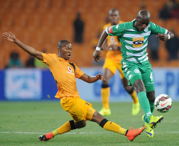 Musa Nyatama of Bloemfontein Celtic tackled by Mandla Masango of Kaizer Chiefs during the Absa Premiership 2014/15 match between Kaizer Chiefs and Bloemfontein Celtic at FNB Stadium,  Johannesburg on the 19 August  2014