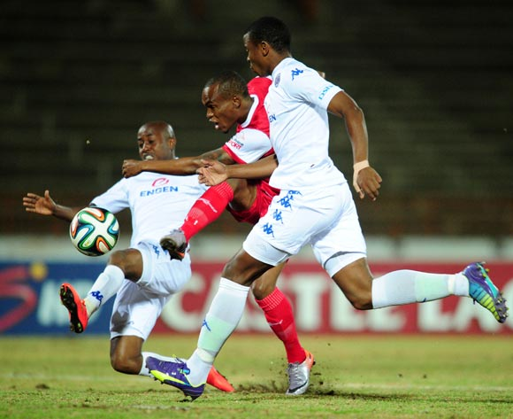 Rudolf Bester of Free State Stars shoots past Bennett Chenene and Thamsanqa Teyise of Supersport United during the Absa Premiership 2014/15 football match between Free State Stars and  Supersport United at the Charles Mopeli Stadium in Qwa-Qwa , Free State Province on the 20th of August 2014