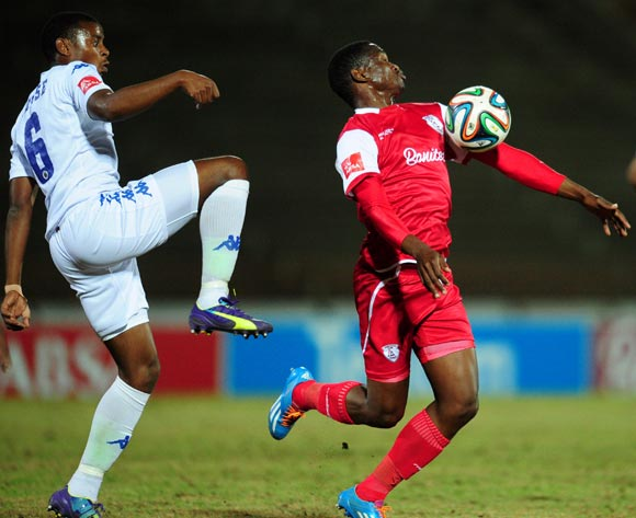 Moeketsi Sekola of Free State Stars battles Thamsanqa Teyise of Supersport United during the Absa Premiership 2014/15 football match between Free State Stars and  Supersport United at the Charles Mopeli Stadium in Qwa-Qwa , Free State Province on the 20th of August 2014