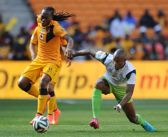 Reneilwe Letsholonyane of Kaizer Chiefs challenged by Letladi Madubanya of Platinum Stars during the 2014 MTN 8 Semi Final match between Kaizer Chiefs and Platinum Stars at FNB Stadium,  Johannesburg on the 24 August  2014