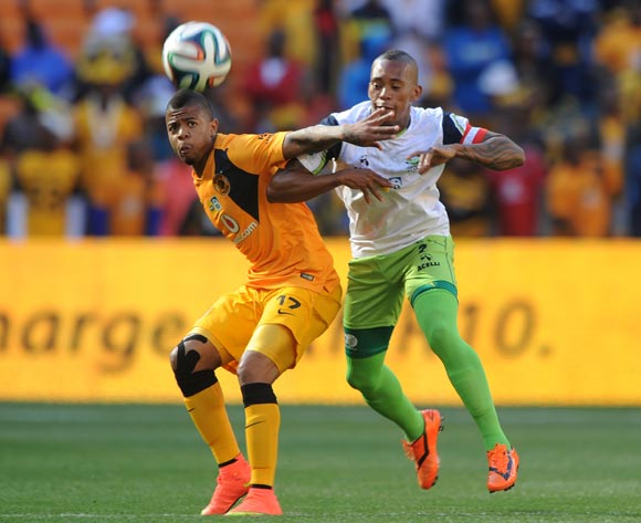 George Lebese of Kaizer Chiefs challenged by Vuyo Mere of Platinum Stars during the 2014 MTN 8 Semi Final match between Kaizer Chiefs and Platinum Stars at FNB Stadium,  Johannesburg on the 24 August  2014