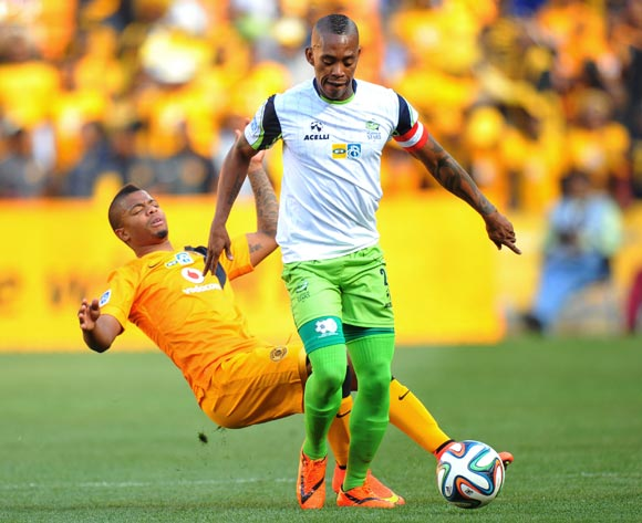 Vuyo Mere of Platinum Stars challenged by George Lebese of Kaizer Chiefs during the 2014 MTN 8 Semi Final second leg match between Kaizer Chiefs and Platinum Stars at Orlando Stadium on the 24 August 2014