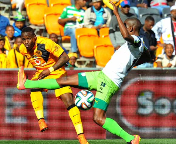 George Maluleke of Kaizer Chiefs challenged by Sibusiso Msomi of Platinum Stars during the 2014 MTN 8 Semi Final second leg match between Kaizer Chiefs and Platinum Stars at Orlando Stadium on the 24 August 2014