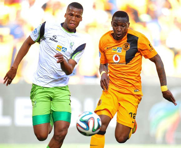 George Maluleke of Kaizer Chiefs challenged by Tshepo Gumede of Platinum Stars during the 2014 MTN 8 Semi Final second leg match between Kaizer Chiefs and Platinum Stars at Orlando Stadium on the 24 August 2014