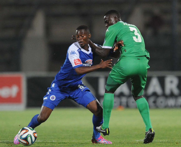 Thato Mokeke of Supersport United battles with Limbikani Mzava of Bloemfontein Celtic  during the Absa Premiership match between Supersport United and Bloemfontein Celtic on the 27 September 2014 at Lucas Moripe Wanderers