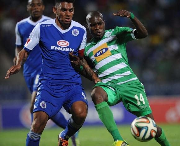 Clayton Daniels of Supersport United battles with Lerato Lamola of Bloemfontein Celtic  during the Absa Premiership match between Supersport United and Bloemfontein Celtic on the 27 September 2014 at Lucas Moripe