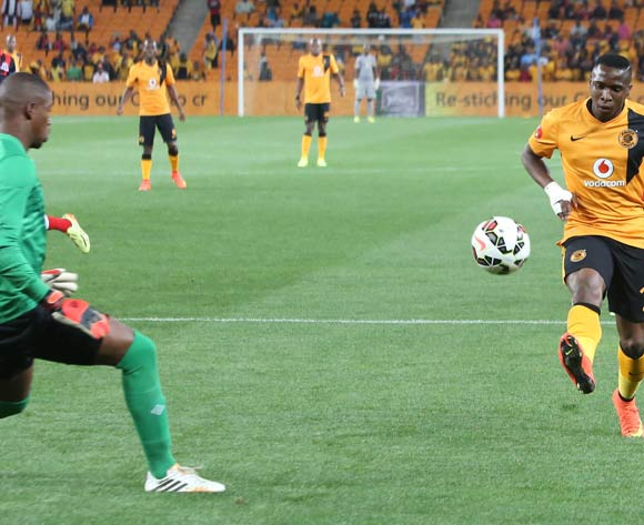 George Maluleke of Kaizer Chiefs and Virgil Vries of Maritzburg United during the ABSA Premiership football match between Kaizer Chiefs and Maritzburg United at FNB Stadium in Johannesburg, South Africa on 27 September 2014