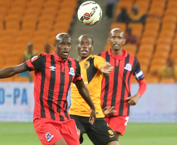 Reneilwe Letsholonyane of Kaizer Chiefs and Kwanda Mngonyama of Maritzburg United during the ABSA Premiership football match between Kaizer Chiefs and Maritzburg United at FNB Stadium in Johannesburg, South Africa on 27 September 2014