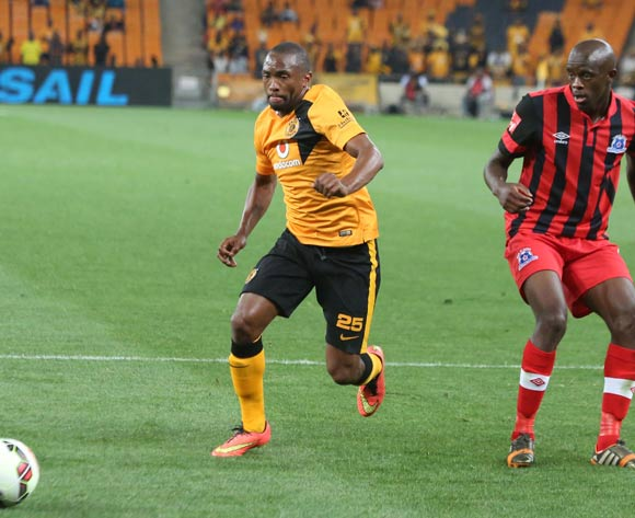 Bernard Parker of Kaizer Chiefs and Kwanda Mngonyama of Maritzburg United during the ABSA Premiership football match between Kaizer Chiefs and Maritzburg United at FNB Stadium in Johannesburg, South Africa on 27 September 2014