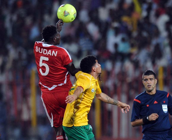 Keagan Dolly of South Africa battles with Yousif  Alaeldin of Sudan during The African Cup Of Nations Qualifier match between Sudan and South Africa on the 05 September 2014 at El Merreikh stadium