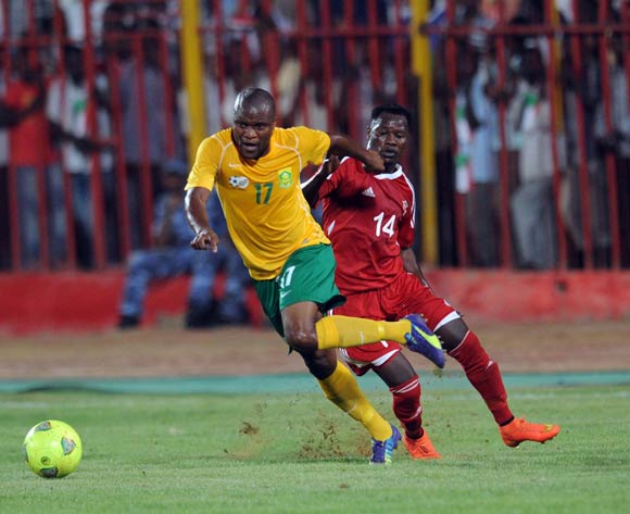 Tokelo Rantie of South Africa battles with Balla Gabir of Sudan during The African Cup Of Nations Qualifier match between Sudan and South Africa on the 05 September 2014 at El Merreikh stadium