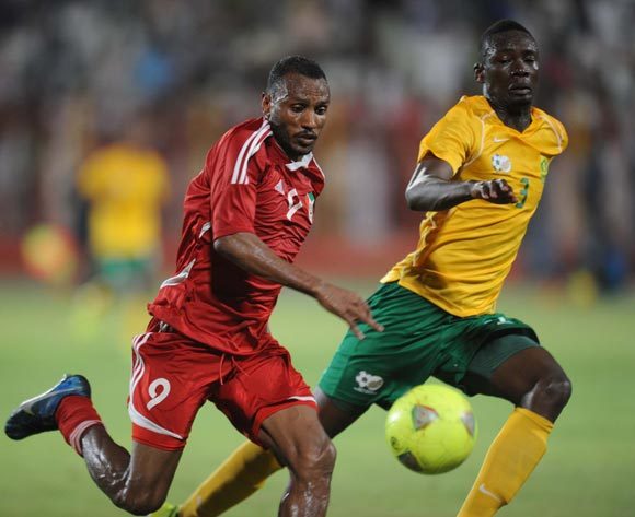 Erick Mathoho of South Africa battles with Bakri Abdelgradir of Sudan during The African Cup Of Nations Qualifier match between Sudan and South Africa on the 05 September 2014 at El Merreikh stadium