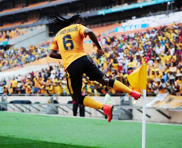 Reneilwe Letsholonyane of Kaizer Chiefs celebrates goal kicks corner flag during the 2014/15 Absa Premiership football match between Kaizer Chiefs and University of Pretoria at Soccer City, Johannesburg on 13 September 2014