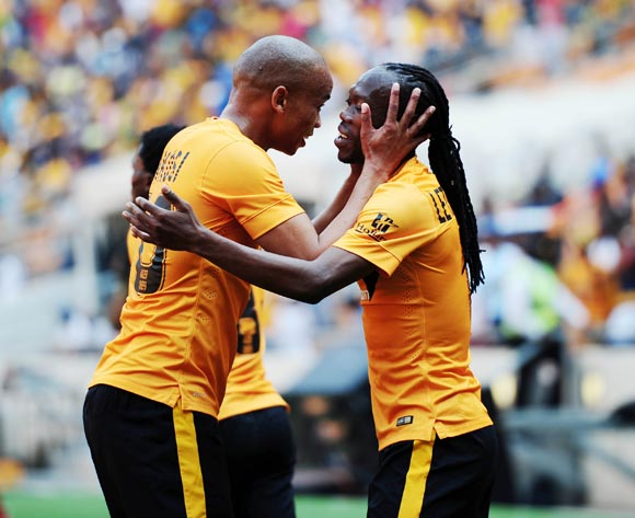 Reneilwe Letsholonyane of Kaizer Chiefs celebrates goal with Siyabonga Nkosi  during the 2014/15 Absa Premiership football match between Kaizer Chiefs and University of Pretoria at Soccer City, Johannesburg on 13 September 2014