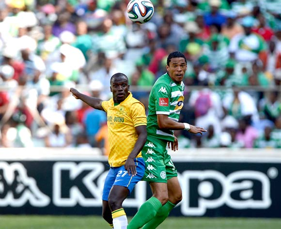 Cuthbert Malajila of Mamelodi Sundowns and Bevan Fransman of Bloemfontein Celtic during the Absa Premiership match between Bloemfontein Celtic FC and Mamelodi Sundowns FC at the Free State Stadium on 14 September 2014