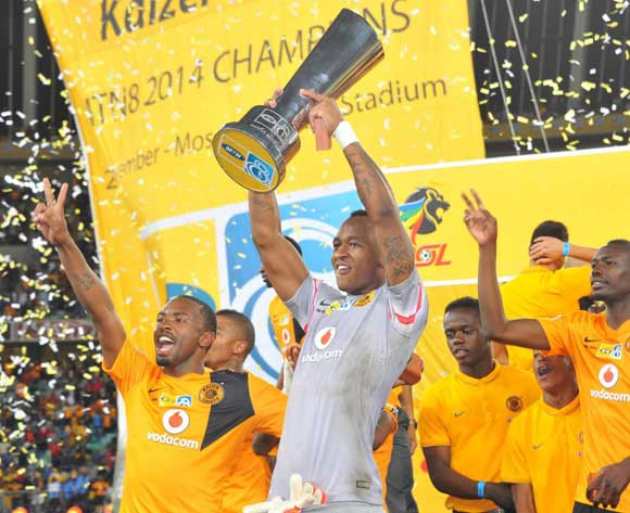 Brilliant Khuzwayo of Kaizer Chiefs celebrates during the 2014 MTN8 final match between Orlando Pirates and Kaizer Chiefs at Moses Mabhida Stadium on 20 September 2014