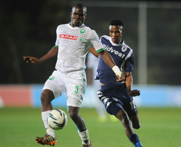 Vincent Pule of Bidvest Wits battles with Goodman Dlamini of AmaZulu  during the Absa Premiership match between Bidvest Wits and AmaZulu on the 26 September 2014 at Bidvest Stadium