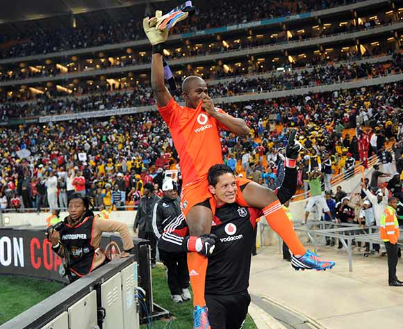 Ndumiso Mabena of Orlando Pirates, Senzo Meyiwa of Orlando Pirates and Moeneeb Josephs of Orlando Pirates celebrate during the Carling Black Label Cup on the 28 July 2012 at FNB Stadium in Johannesburg  ©Pic Sydney Mahlangu/BackpagePix