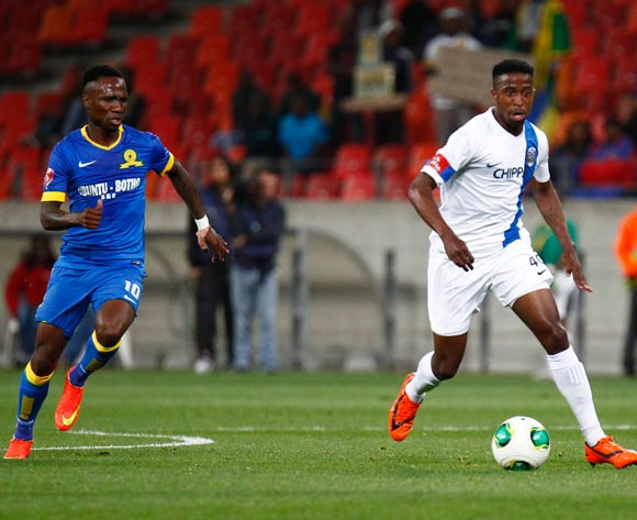 William Thwala of Chippa United and Teko Modise of Mamelodi Sundowns during the Absa Premiership football Match between Chippa United and Mamelodi Sundowns at the Nelson Mandela Bay Stadium on 22 October 2014