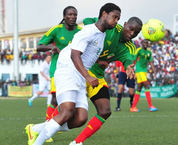 Bongani Ndulula of South Africa battles with Boris Moubhibo Ngonga of Congo during the African Cup of Nations Qualifiers match between Congo and South Africa at Stade Municipal de Pointe-Noire Stadium, Congo Brazzaville on 11 October 2014
