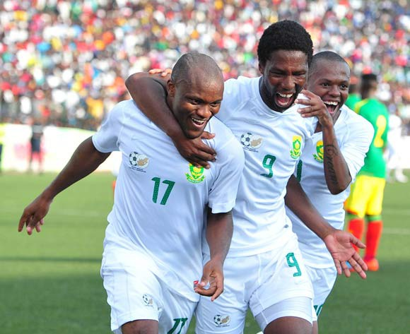 Tokelo Rantie celebrates his goal with Bongani Ndulula and Thulani Serero of South Africa during the African Cup of Nations Qualifiers match between Congo and South Africa at Stade Municipal de Pointe-Noire Stadium, Congo Brazzaville on 11 October 2014