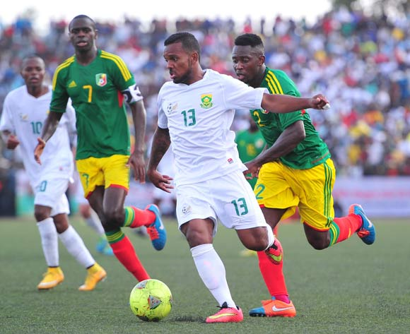 Kermit Erasmus of South Africa challenged by Francis Nganga of Congo during the African Cup of Nations Qualifiers match between Congo and South Africa at Stade Municipal de Pointe-Noire Stadium, Congo Brazzaville on 11 October 2014