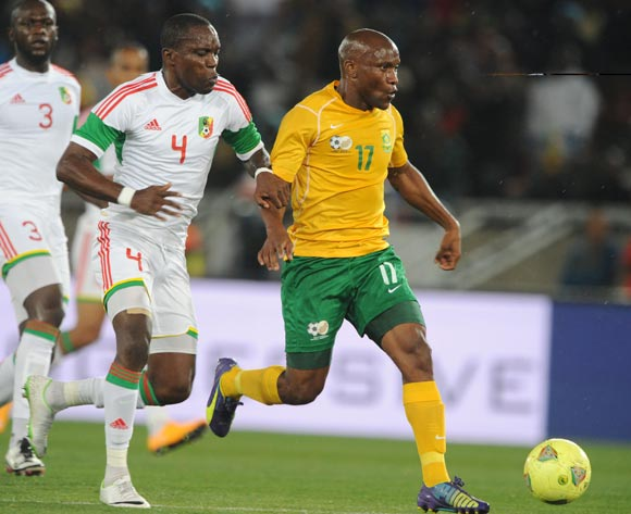 Tokelo Rantie of South Africa challenged by Moubhio Boris of Congo during the 2015 African Cup of Nations Qualifier match between South Africa and Congo, at Peter Mokaba Stadium on 14 October 2014