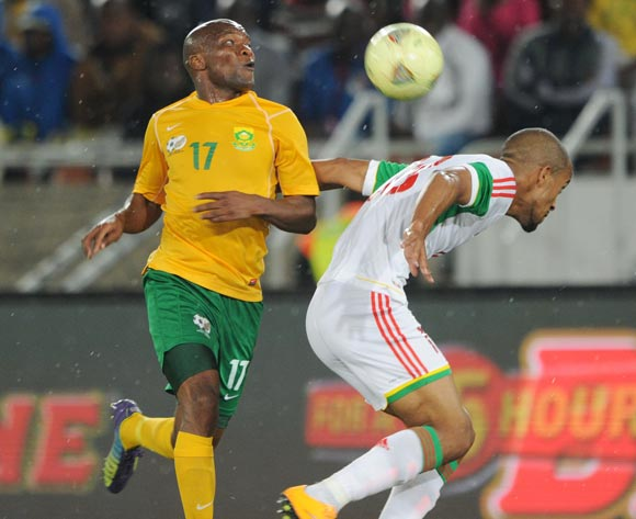 Tokelo Rantie of South Africa battles with Tony Marvin of Congo during the 2015 African Cup of Nations Qualifier match between South Africa and Congo, at Peter Mokaba Stadium on 14 October 2014