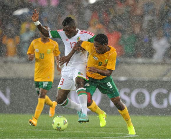 Bongani Ndulula of South Africa battles with Guivane Bifouma of Congo during the 2015 African Cup of Nations Qualifier match between South Africa and Congo, at Peter Mokaba Stadium on 14 October 2014