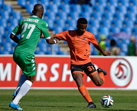 Thobani Mncwango of Polokwane City and Alfred Ndengane Bloemfontein Celtic during the Absa Premiership match between Bloemfontein Celtic FC and Polokwane City FC at the Kaizer Sebothelo Stadium  on 19 October 2014