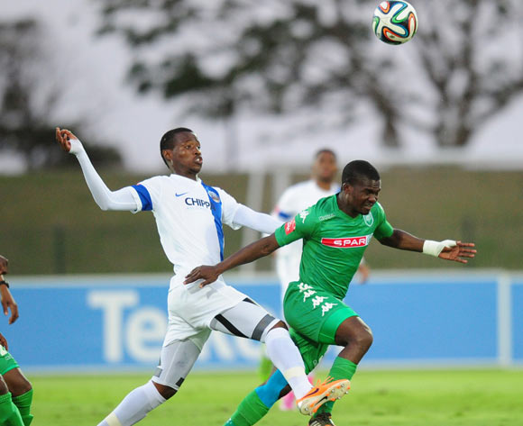 Thamsanqa Sangweni of Chippa United battles Goodman Dlamini of AmaZulu during the Absa Premiership 2014/15 football match between AmaZulu and Chippa United  at the Princess Magogo Stadium in Durban , Kwa-Zulu Natal on the 18th of October 2014