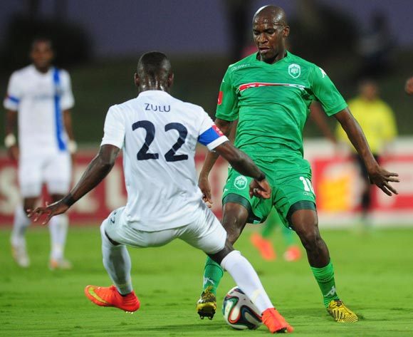 Philani Shange of AmaZulu battles Siyabonga Zulu of Chippa United during the Absa Premiership 2014/15 football match between AmaZulu and Chippa United  at the Princess Magogo Stadium in Durban , Kwa-Zulu Natal on the 18th of October 2014