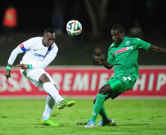 George Akpabio of Chippa United and Willem Mwedihanga of AmaZulu during the Absa Premiership 2014/15 football match between AmaZulu and Chippa United  at the Princess Magogo Stadium in Durban , Kwa-Zulu Natal on the 18th of October 2014