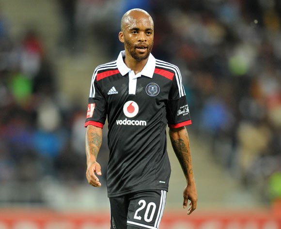 Oupa Manyisa of Orlando Pirates during the Absa Premiership 2014/15 football match between Black Aces and Orlando Pirates at Mbombela Stadium on the 21 October 2014