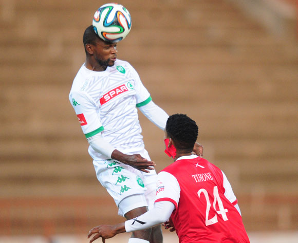 Ayanda Dlamini of AmaZulu battles Bokang Tlhone of Free State Stars during the Absa Premiership 2014/15 football match between Free State Stars and AmaZulu at the Charles Mopeli Stadium in Qwa-Qwa , Free State Province on the 22nd of October 2014