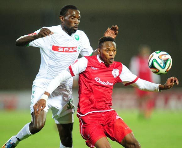 Reuben Thebakang of Free State Stars battles Willem Mwedihanga of AmaZulu during the Absa Premiership 2014/15 football match between Free State Stars and AmaZulu at the Charles Mopeli Stadium in Qwa-Qwa , Free State Province on the 22nd of October 2014