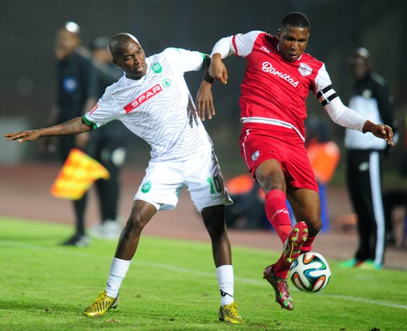 Philani Shange of AmaZulu battles Paulus Masehe of Free State Stars during the Absa Premiership 2014/15 football match between Free State Stars and AmaZulu at the Charles Mopeli Stadium in Qwa-Qwa , Free State Province on the 22nd of October 2014
