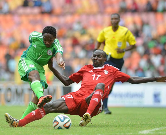 Ahmed Musa of Nigeria challenged by Nasr Eldin Omer of Sudan on Wednesday