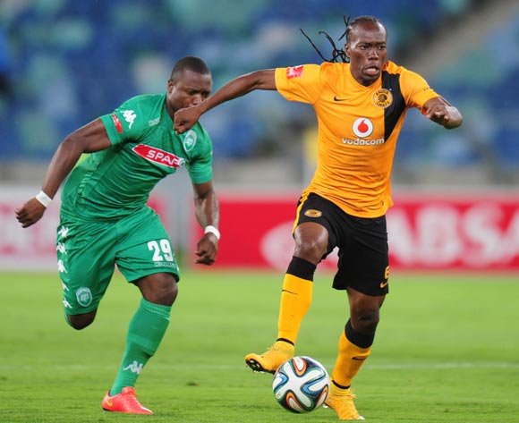 Reneilwe Letsholonyane of Kaizer Chiefs and Bornwell Mwape  of AmaZulu during the Absa Premiership 2014/15 football match between AmaZulu and Kaizer Chiefs at the Moses Mabhida Stadium in Durban , Kwa-Zulu Natal on the 5th of November 2014