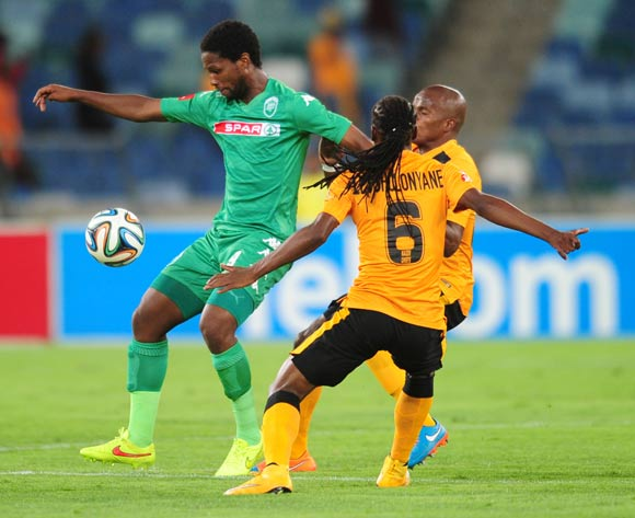 Bongani Ndulula of AmaZulu battles Reneilwe Letsholonyane of Kaizer Chiefs during the Absa Premiership 2014/15 football match between AmaZulu and Kaizer Chiefs at the Moses Mabhida Stadium in Durban , Kwa-Zulu Natal on the 5th of November 2014