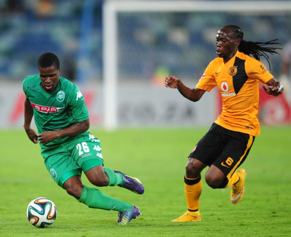 Tshepo Liphoko of AmaZulu and Reneilwe Letsholonyane of Kaizer Chiefs during the Absa Premiership 2014/15 football match between AmaZulu and Kaizer Chiefs at the Moses Mabhida Stadium in Durban , Kwa-Zulu Natal on the 5th of November 2014